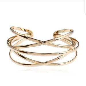 Gold Tone Bangle Cuff Bracelet